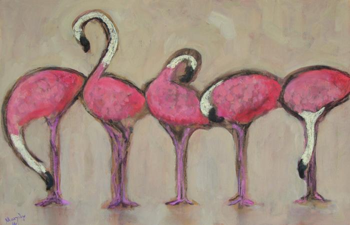 Flamingos-oil-on-canvas-100-X-65-cm