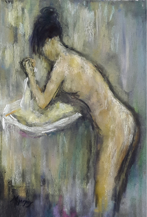 La Toilete 44 x 31 cm pastel on board