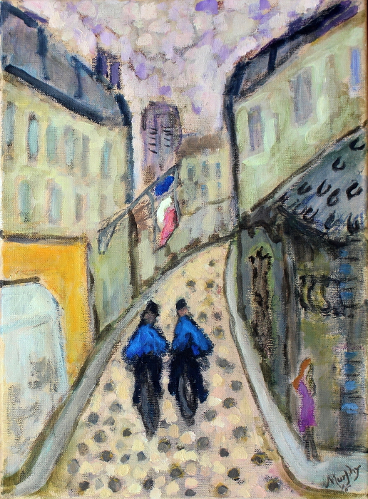 Deux Gendarmes et La Pute 46 x 33 cm oil on canvas - web