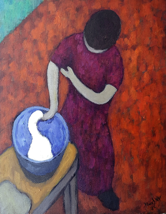 Making Bread 55 x 46cm oil on canvas - web