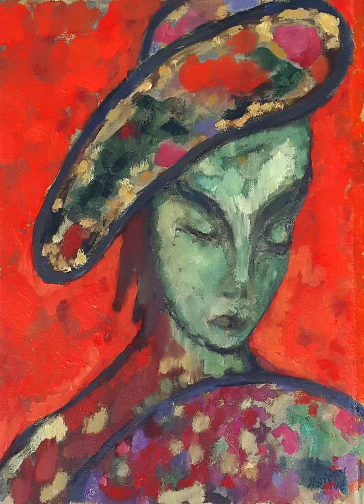 Hat and Fan 46 x 33 cm oil on canvas - web
