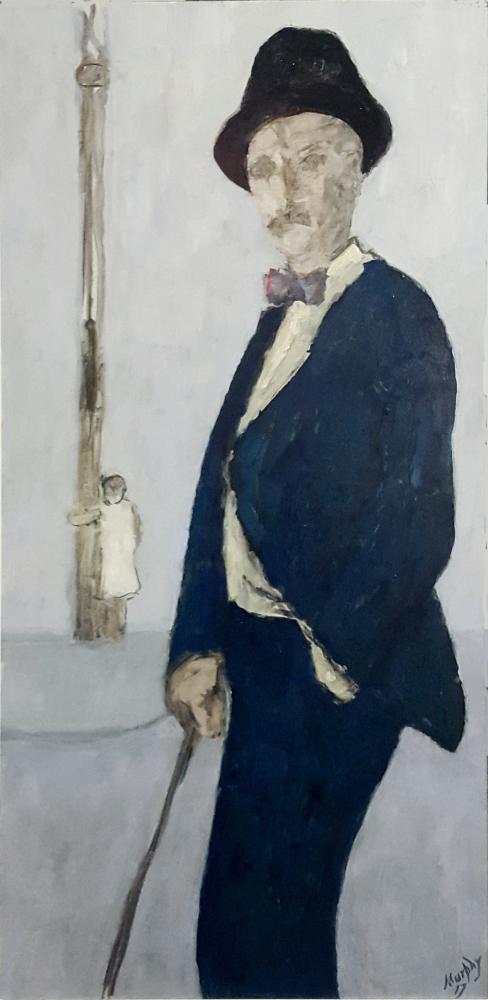James Joyce in his Blue Serge Suit Paris 100 X 50 cm oil on canvas - web