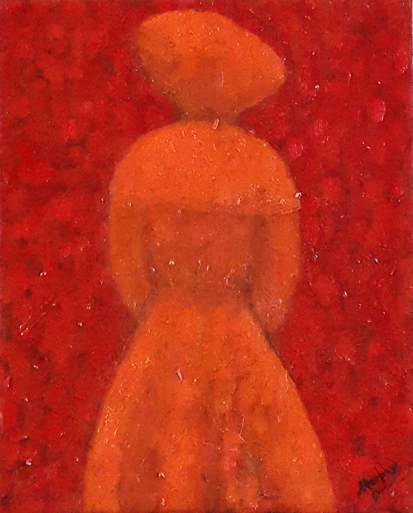 Lady in Red 46 x 38 cm oil on canvas - web
