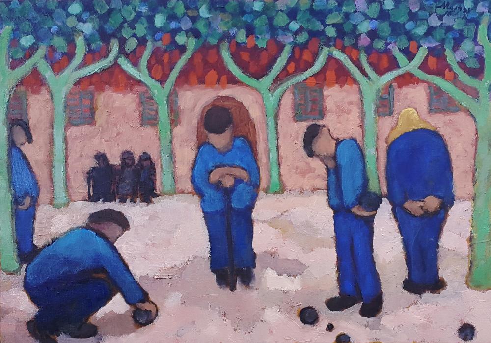 The Boule Players 61 x 46 cm oil on canvas - web
