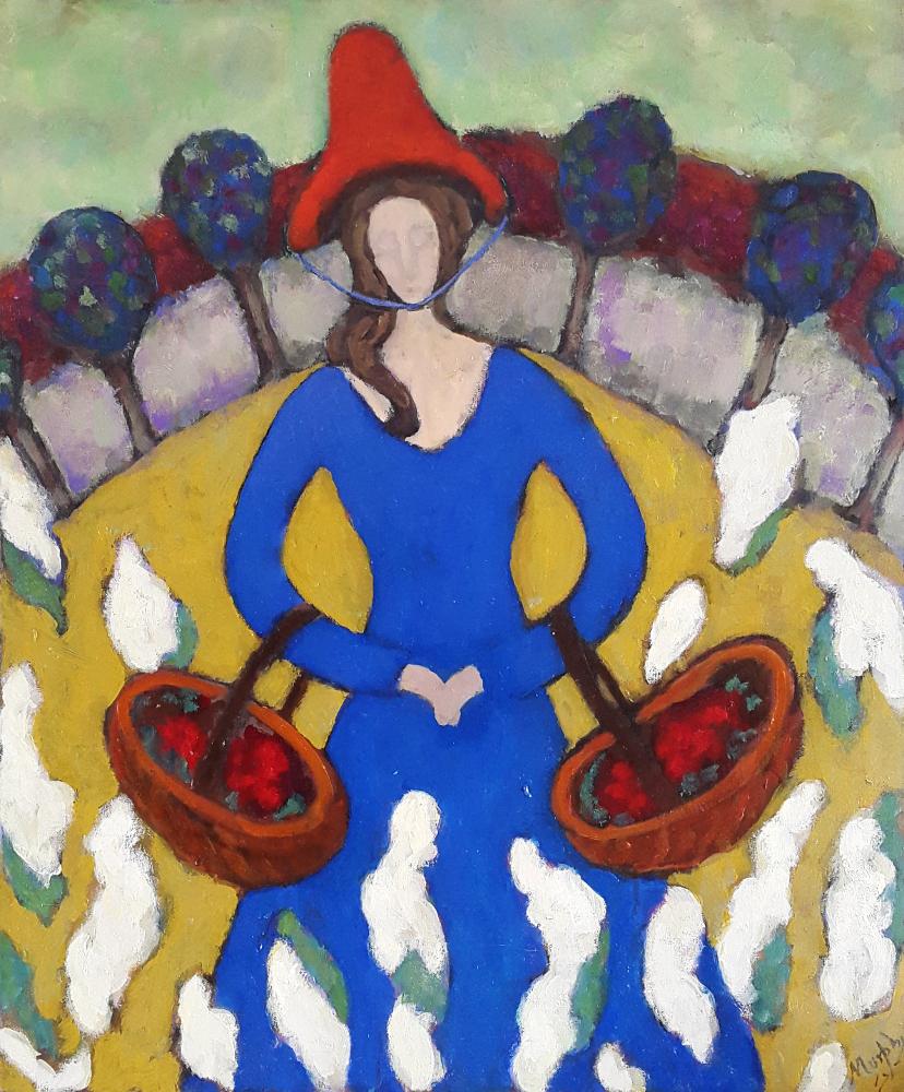 The Flower Seller 73 x 60 cm oil on canvas - web