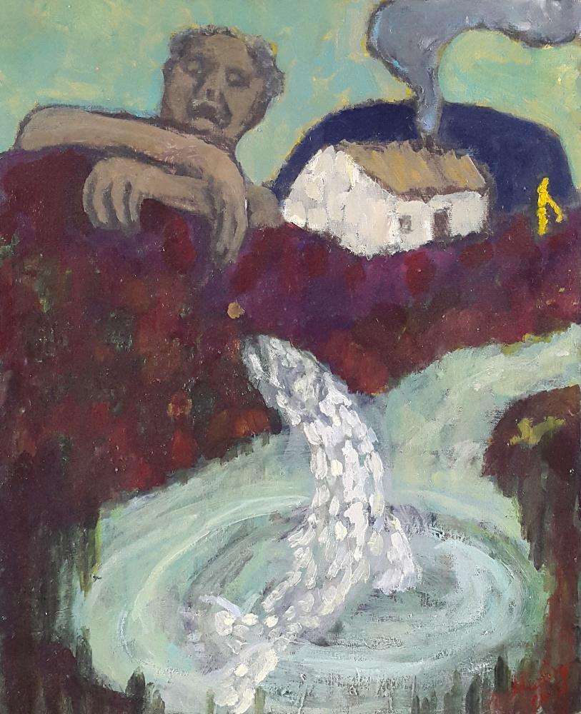 The Salmon of Wisdom & Fintan MacBochra 55 x 46 cm oil on canvas - web