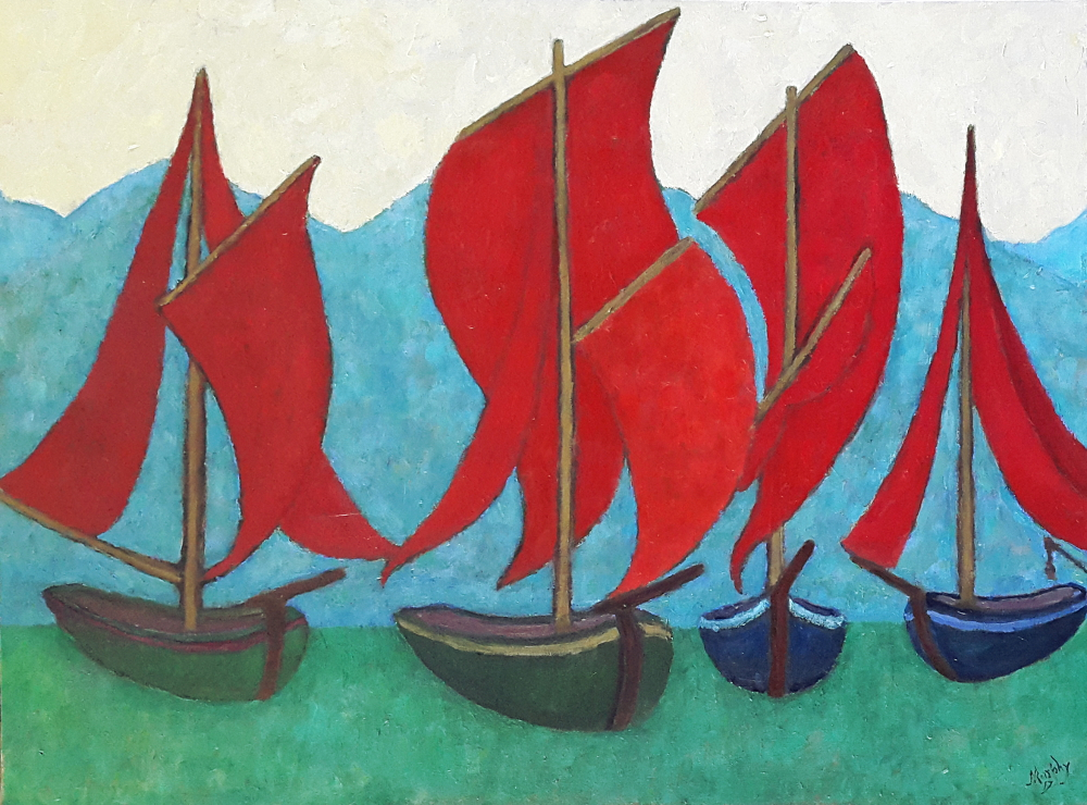 Galway Hookers Clare Island 100 x 73 cm oil on canvas - web format