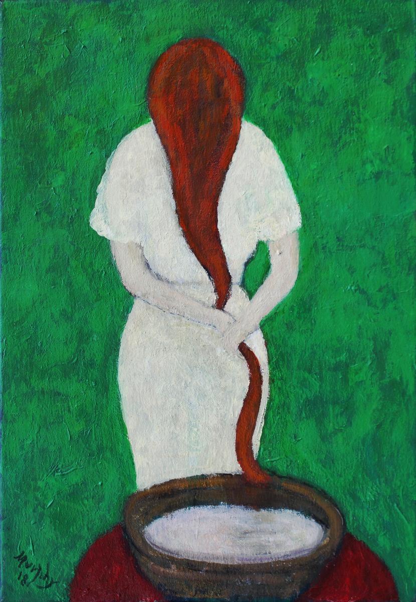 La Coiffure 55 x 38 cm oil on canvas -  web