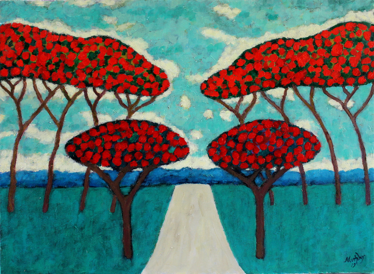 The Avenue Of Pins Parasols 73 x 54 cm oil on canvas - web